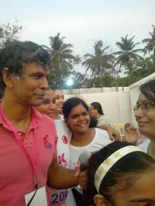 Yeah! that's me on the right. I shook hands with Milind thanking him for making it to Chennai.